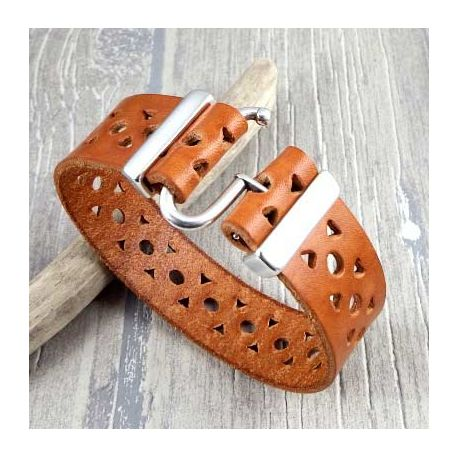 Kit bracelet cuir camel decor top tendance fermoir argent