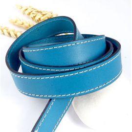 cuir plat 20mm turquoise coutures haute qualite par 19cm