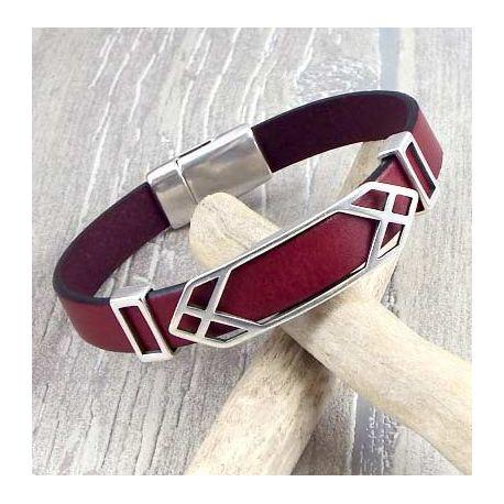 Kit bracelet cuir homme bordeaux geo argent fin