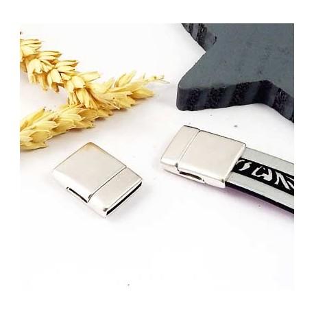 fermoir magnetique plat RARE plaque argent pour cuir 15mm