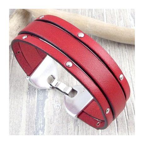 Kit tutoriel bracelet cuir rouge avec clous et fermoir plaque argent