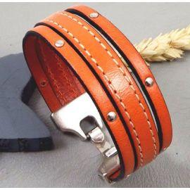 Kit tutoriel bracelet cuir orange avec clous couture et fermoir plaque argent