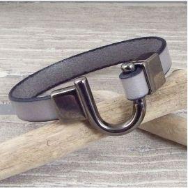 Kit bracelet cuir homme gris et fermoir fer a cheval gun metal