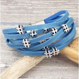 Kit bracelet cuir bleu jean hastag diese argent