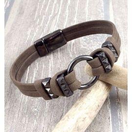 Bracelet cuir homme marron gun metal