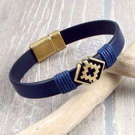 Kit bracelet cuir homme ethnique boho marine