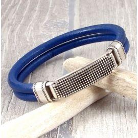 kit tutoriel bracelet cuir bleu homme fermoir sur le dessus