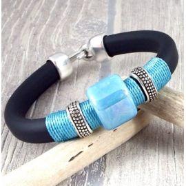 Kit bracelet regaliz pvc noir argent et turquoise