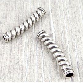 Intercalaire tube torsade argent pour cuir rond 4 mm