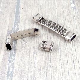 Fermoir clip granite argent pour cuir demi rond