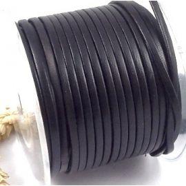 cordon cuir plat 3mm noir