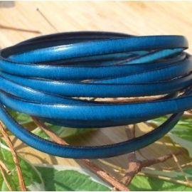Cuir plat 5mm bleu turquoise sombre