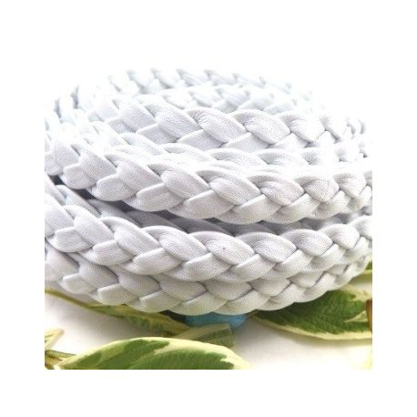 Cuir plat tresse blanc 10mm