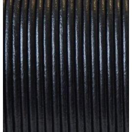 Cordon cuir rond 2mm noir