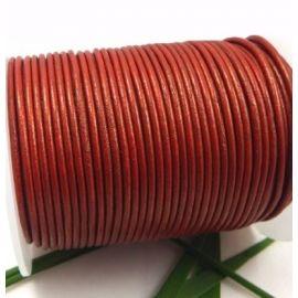 Cordon cuir rond 2mm cuivre métallisé par 50cm