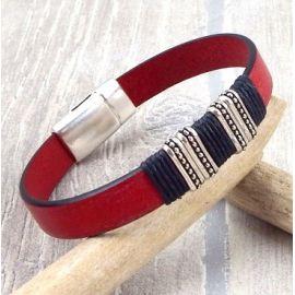 Kit bracelet cuir homme ethnique rouge et noir
