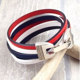 Kit bracelet cuir bleu blanc rouge france