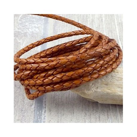 cordon cuir rond tresse fauve 3MM par 20cm