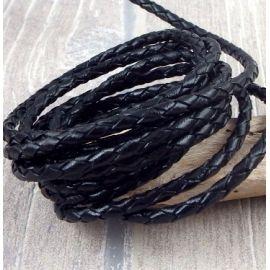 cordon cuir rond tresse noir 3MM par 20cm