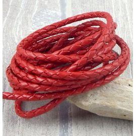 cordon cuir rond tresse rouge 3MM par 20cm
