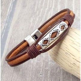 Kit bracelet cuir homme ethnique nature et marron