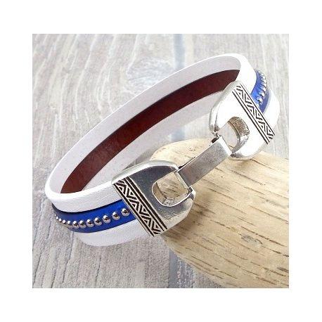 Kit bracelet cuir blanc et bleu metal