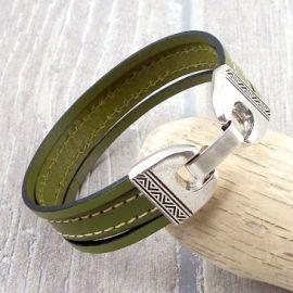 Kit bracelet cuir vert anis coutures