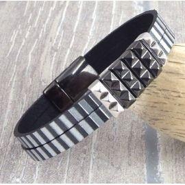 Kit bracelet cuir homme argent et gun metal