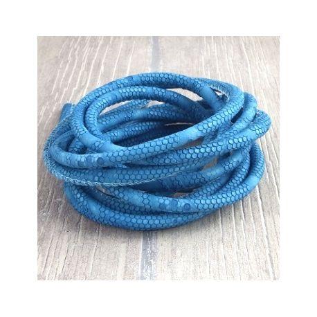 cordon cuir PU reptile bleu 5mm