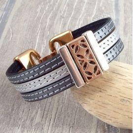 Kit bracelet cuir manchette coutures argent et or rose ethnique