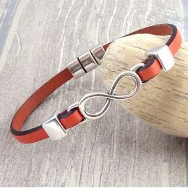 Kit bracelet cuir couleur et infini argent