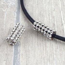 Perle passante tube strass cristal pour cuir rond