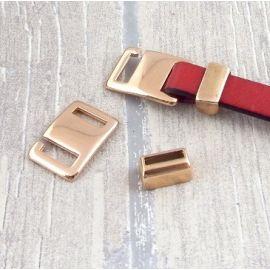 Set fermoir crochet rectangle plaque or rose pour cuir plat 10mm