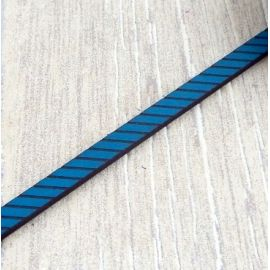 Cuir plat 6mm gravé rayé bleu