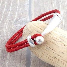 Kit bracelet cuir tresse rouge fermoir crochet boule argent