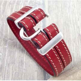Kit bracelet cuir rouge top tendance fermoir argent