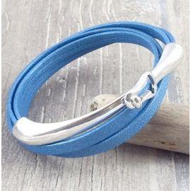 Kit tutoriel bracelet cuir bleu metal double et fermoir crochet argent