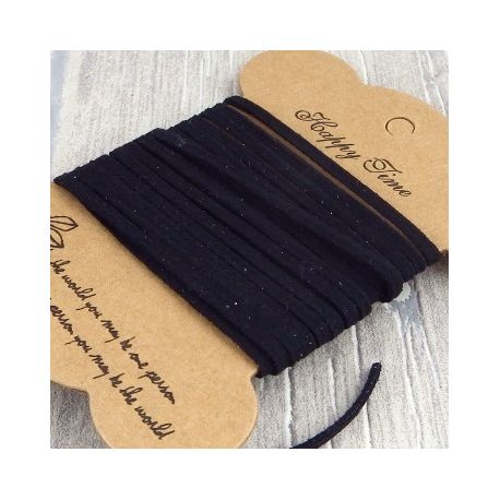 cordon suédine simili daim noir 3mm
