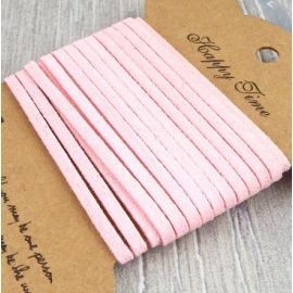 Cordon suedine rose pale 3mm par 3 metres