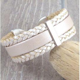 Kit tutoriel bracelet cuir tresse ivoire metal et argent