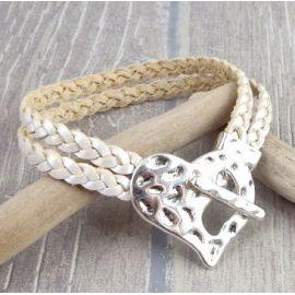 Kit tutoriel bracelet cuir tresse ivoire metal fermoir coeur