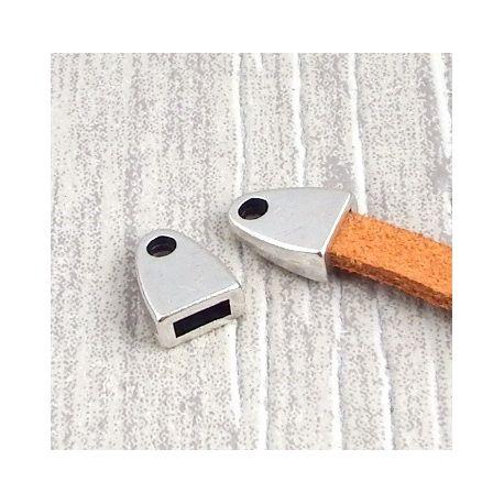 2 embouts fermoir plaque argent pour cuir plat 5mm