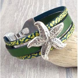 Kit bracelet cuir vert etoile de mer argent