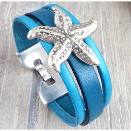 Kit bracelet cuir turquoise etoile de mer argent