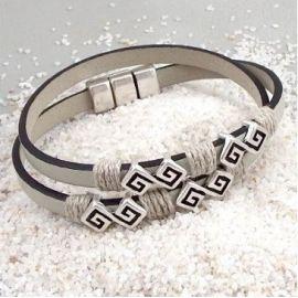 Kit bracelet cuir mastic et chanvre fermoir argent