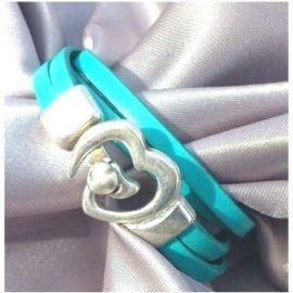 Kit tutoriel bracelet cuir turquoise fermoir coeur vue dépliée