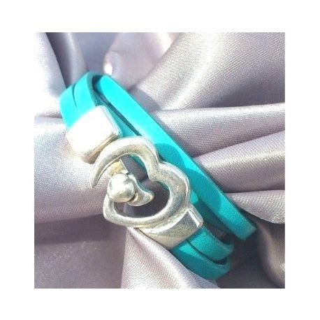 Kit tutoriel bracelet cuir turquoise fermoir coeur vue 1