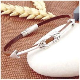 kit tutoriel bracelet cuir fin marron fleches argent