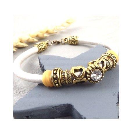 kit bracelet cuir rond ivoire metal dore et cristal tutoriel offert