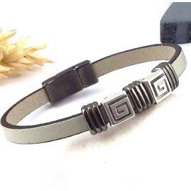 Kit tutoriel bracelet cuir homme mastic et gun metal